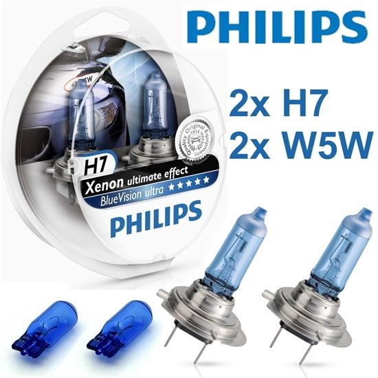 PHILIPS-H7-BlueVision-ultra-Xenoneffect-12V-55W-GLUHBIRNEN-HALOGEN-LAMPEN-12Volt