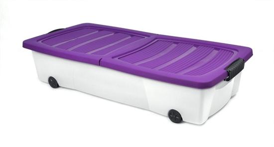 rollbox 55l 80x40x17cm mit rollen unterbettbox box rollenbox bettenbox violett ebay. Black Bedroom Furniture Sets. Home Design Ideas