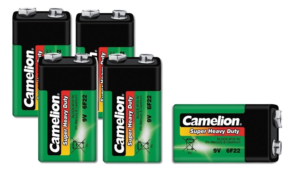 5x camelion super heavy duty batterie 9 volt block 9v 6f22 gr n batterien 9v set ebay. Black Bedroom Furniture Sets. Home Design Ideas