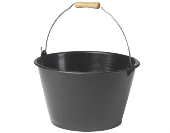 ernte eimer 15 liter mit holzgriff schwarz wassereimer futtereimer universal ebay. Black Bedroom Furniture Sets. Home Design Ideas