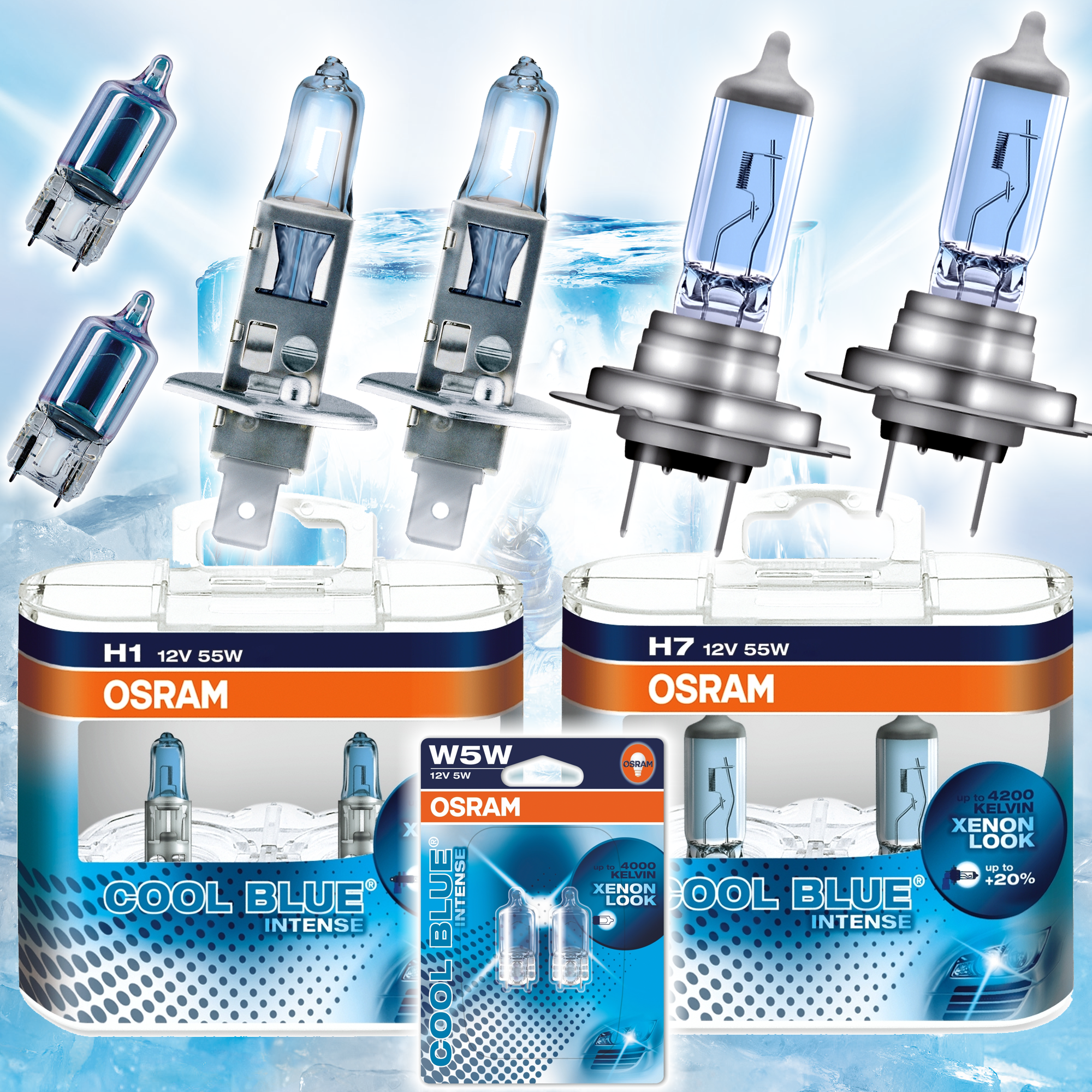 osram cool blue intense xenon look lampen h1 h7 w5w ebay. Black Bedroom Furniture Sets. Home Design Ideas