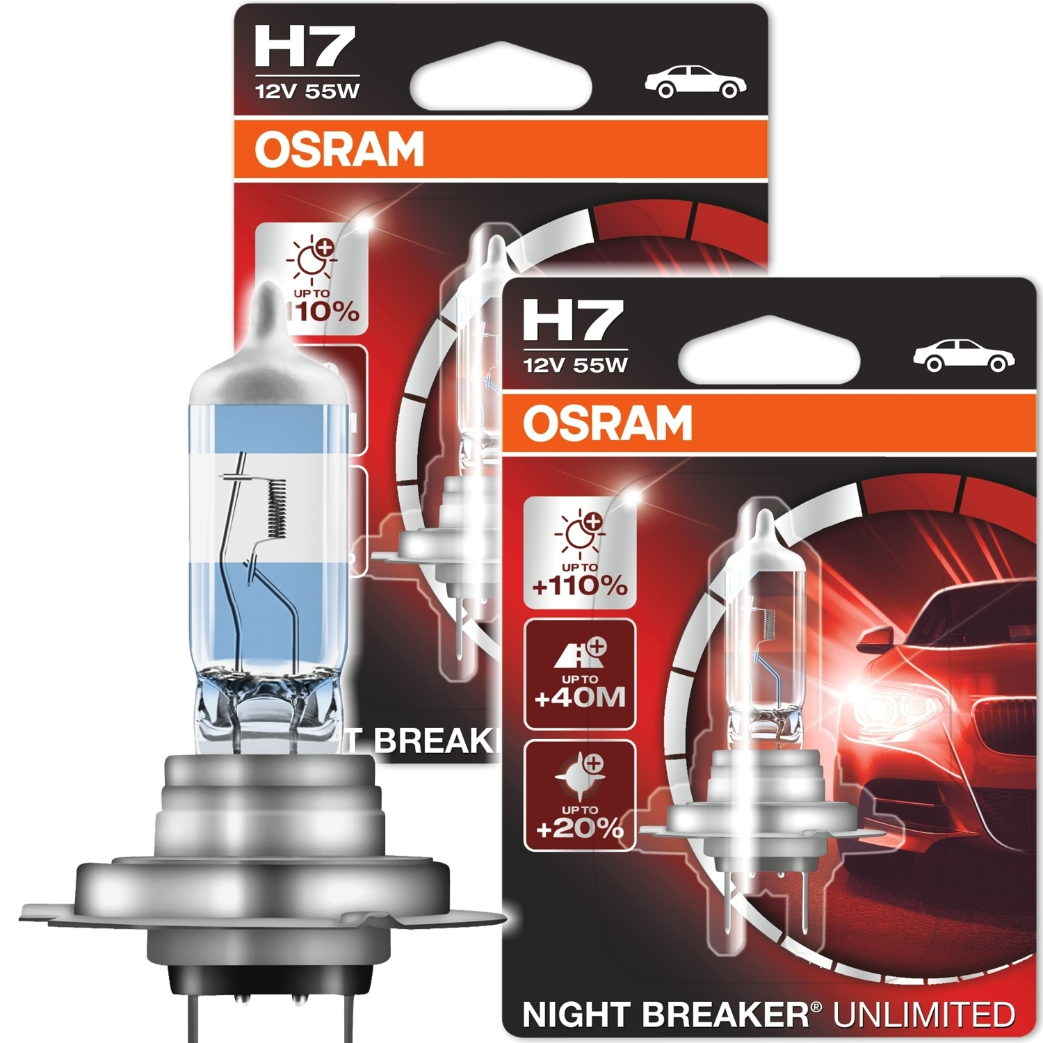 2x osram halogen lampe h7 night breaker unlimited 55w 12v. Black Bedroom Furniture Sets. Home Design Ideas