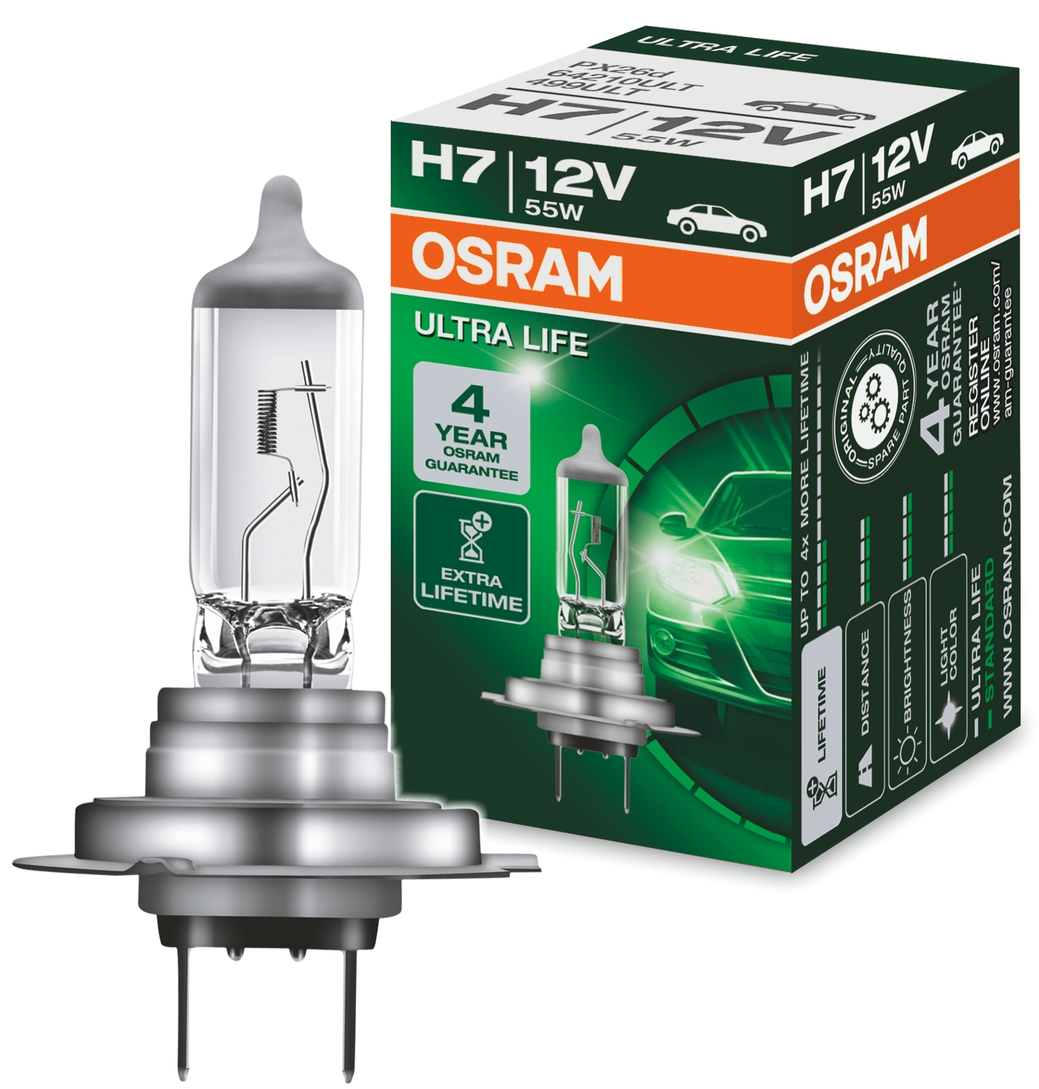 1x osram h7 ultra life 12v 55w longlife 64210ult px26d. Black Bedroom Furniture Sets. Home Design Ideas