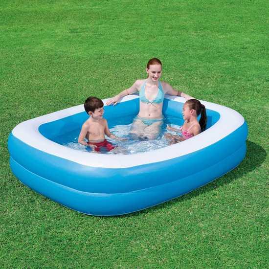Bestway pool familienpool 201x150x51cm schwimmbecken for Schwimmbecken eckig aufblasbar