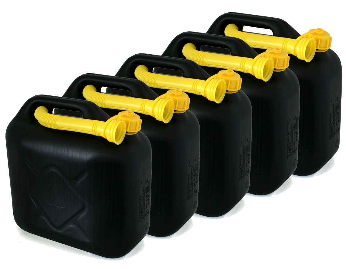 5er set pkw benzin kanister 10 liter inkl ausgiessrohr. Black Bedroom Furniture Sets. Home Design Ideas