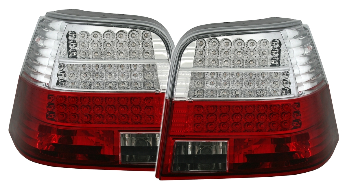 led r ckleuchten set f r vw golf 4 iv limo in klarglas rot. Black Bedroom Furniture Sets. Home Design Ideas