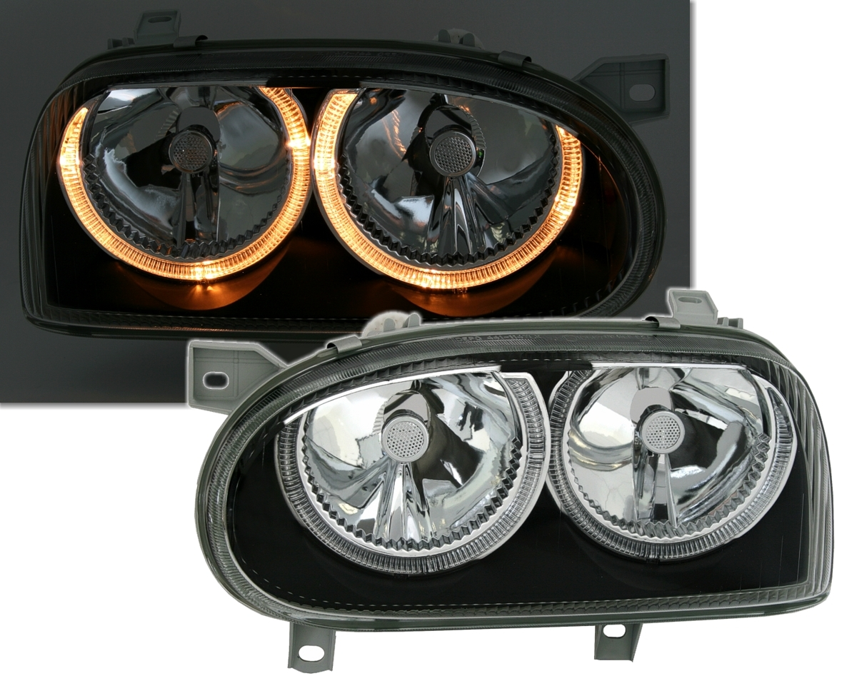 DEPO-ANGEL-EYES-SCHEINWERFER-SET-fuer-VW-GOLF-3-in-KLARGLAS-SCHWARZ-Adapter