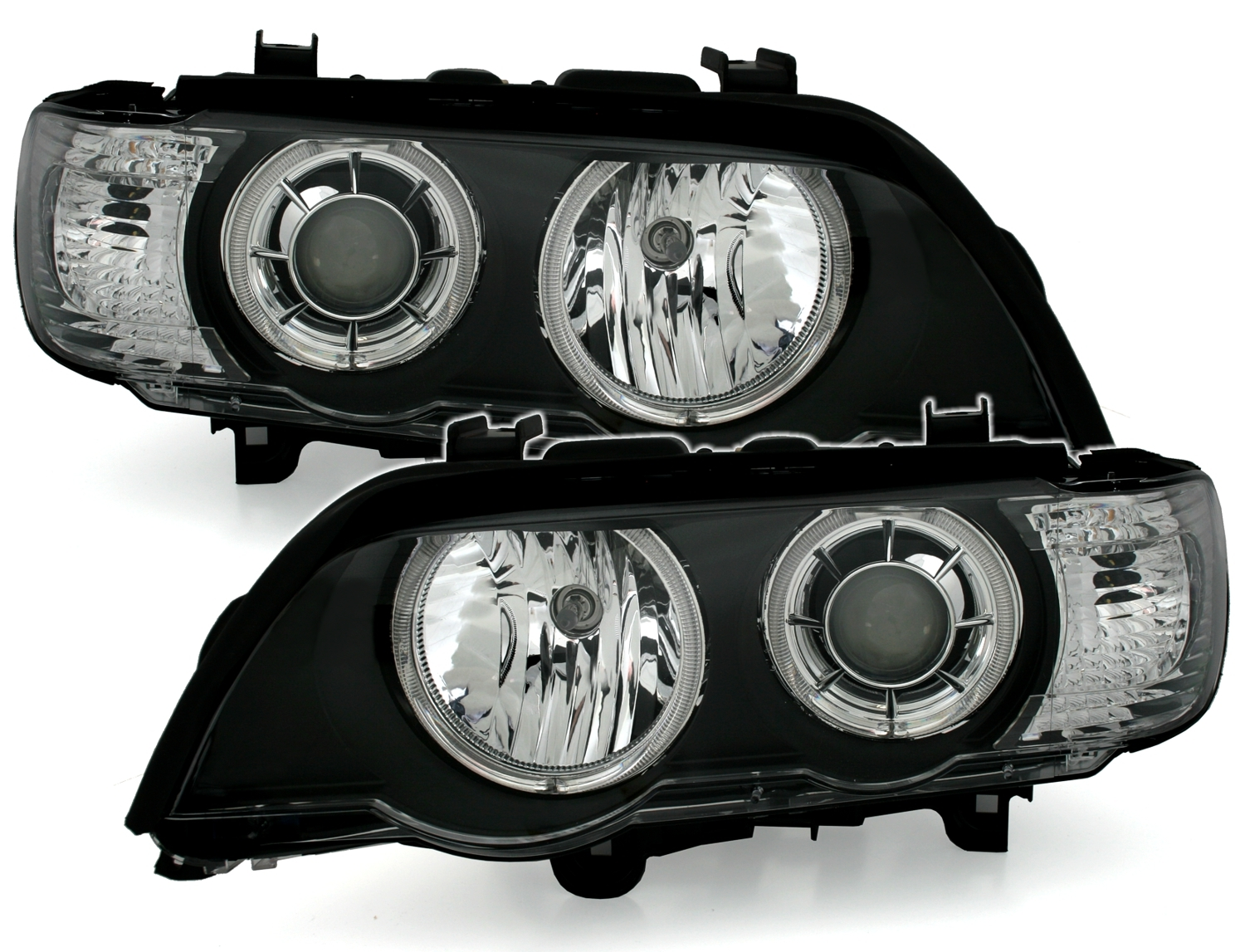 bmw x5 e53 led angel eyes xenon scheinwerfer set wei e ringe von depo schwarz ebay. Black Bedroom Furniture Sets. Home Design Ideas