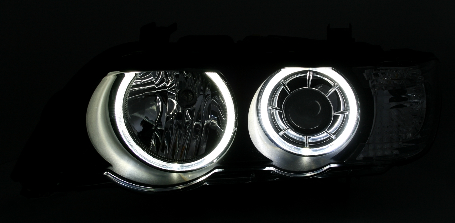 bmw x5 e53 led angel eyes xenon scheinwerfer set wei e ringe von depo schwarz. Black Bedroom Furniture Sets. Home Design Ideas