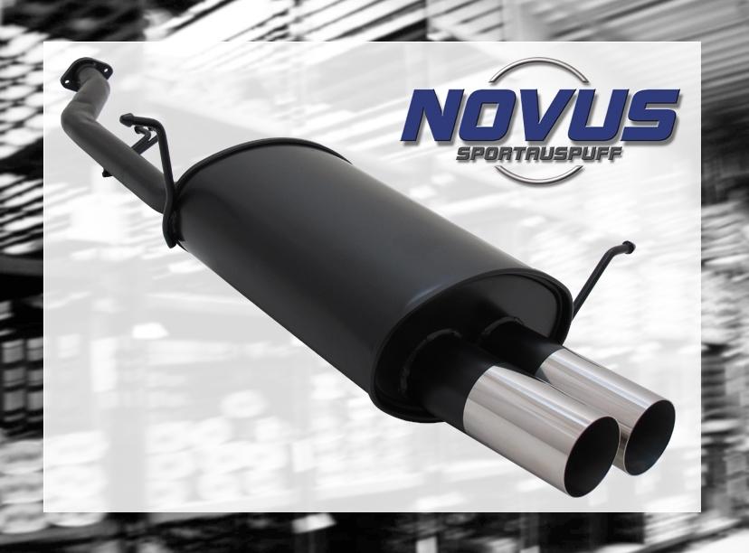 NOVUS-SPORTAUSPUFF-Gruppe-N-ESD-2x-76mm-RL-Design-3er-BMW-E36-316i-Compact