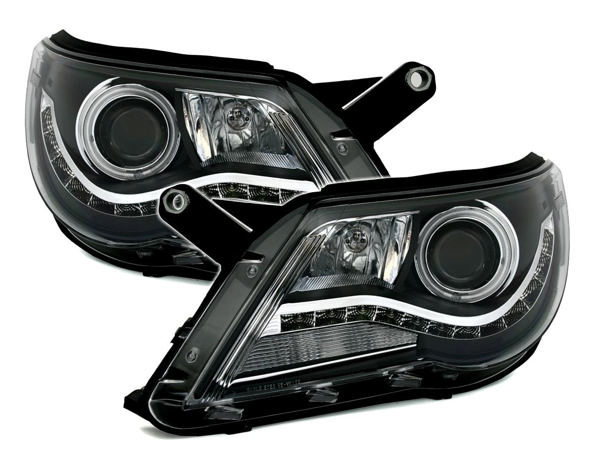 ccfl angel eyes scheinwerfer f r vw tiguan in schwarz mit. Black Bedroom Furniture Sets. Home Design Ideas